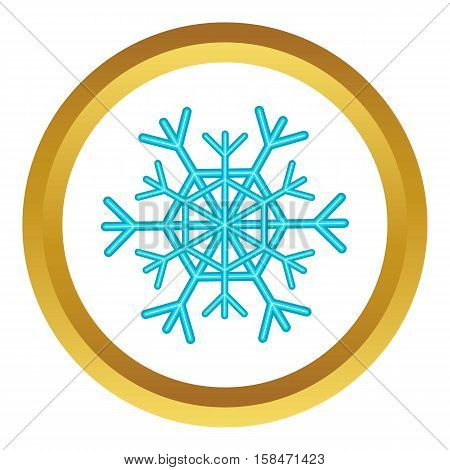 Snowflake vector icon in golden circle, cartoon style isolated on white background