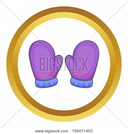 Pair of warm mittens vector icon in golden circle, cartoon style isolated on white background