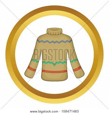 Cute winter sweater vector icon in golden circle, cartoon style isolated on white background