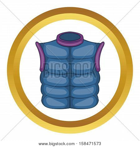 Winter quilted waistcoat vector icon in golden circle, cartoon style isolated on white background