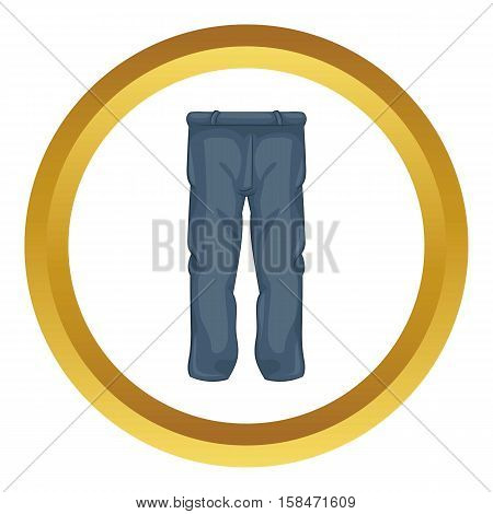 Men pants vector icon in golden circle, cartoon style isolated on white background