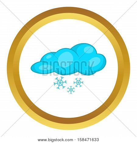 Snow and cloud vector icon in golden circle, cartoon style isolated on white background