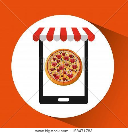 payment credit card delivery food pizza vector illustration eps 10