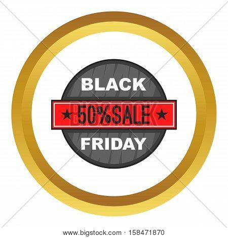 Black Friday 50 off vector icon in golden circle, cartoon style isolated on white background