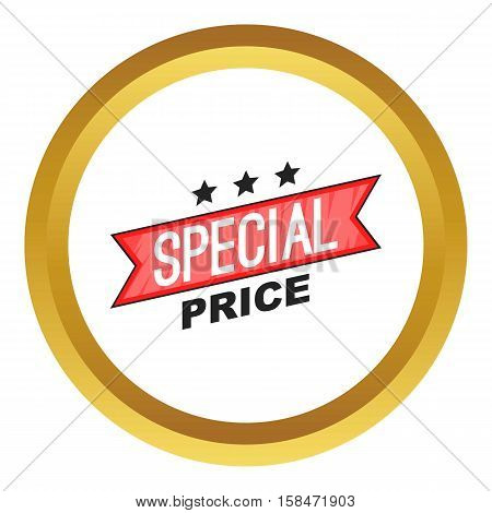 Special price ribbon vector icon in golden circle, cartoon style isolated on white background