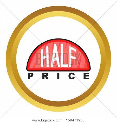 Half price label vector icon in golden circle, cartoon style isolated on white background