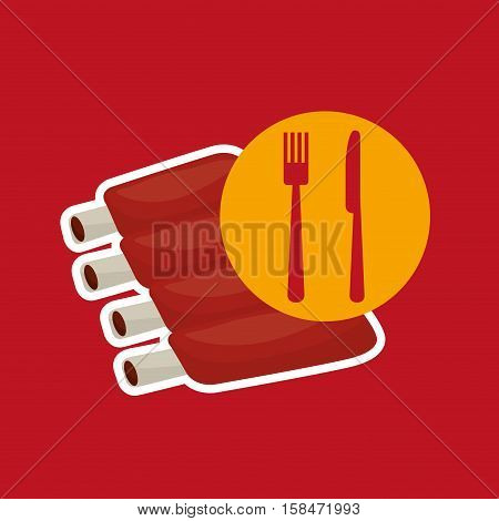 grill fast food concept lamb chops vector illustration eps 10