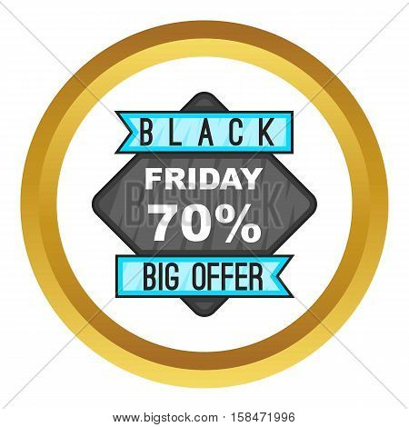 Discount 70 Black Friday sale. vector icon in golden circle, cartoon style isolated on white background