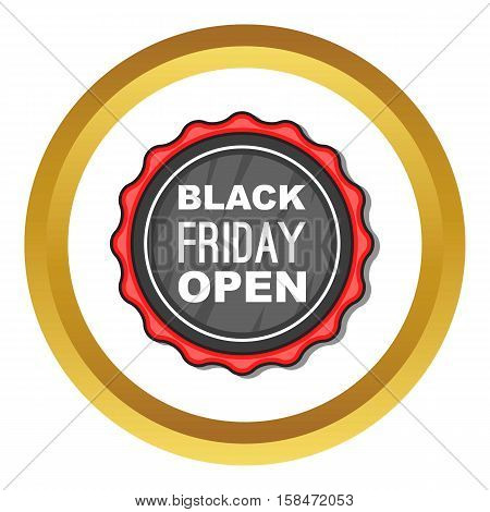 Black Friday sale badge vector icon in golden circle, cartoon style isolated on white background