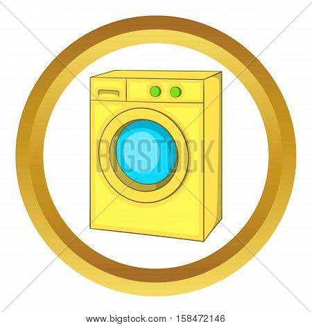 Washing machine vector icon in golden circle, cartoon style isolated on white background