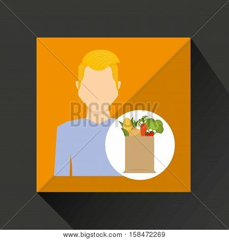 cartoon man blond with shop bag healthy food vector illustration eps 10