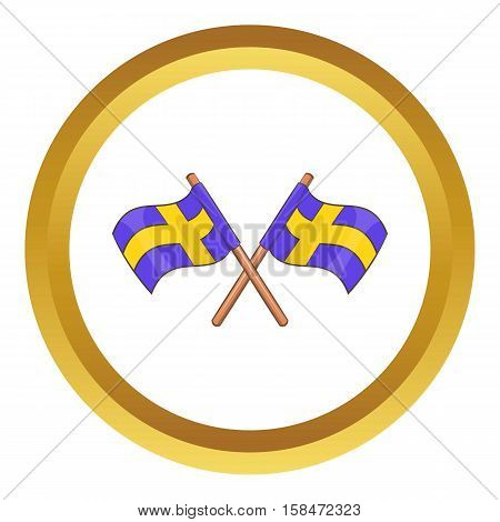 Crossed swedish flags vector icon in golden circle, cartoon style isolated on white background