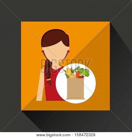 cartoon girl red dress grocery bag vegetables vector illustration eps 10