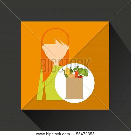 cartoon girl blonde grocery bag vegetables vector illustration eps 10