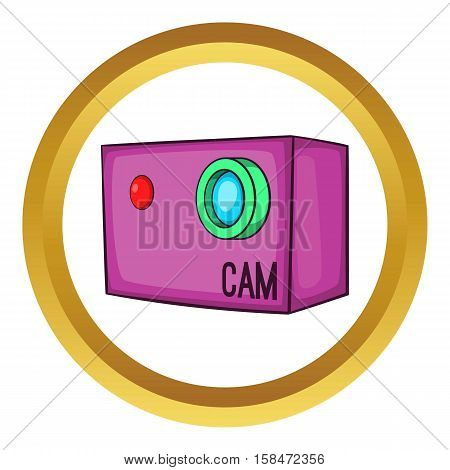 Action video digital camera vector icon in golden circle, cartoon style isolated on white background