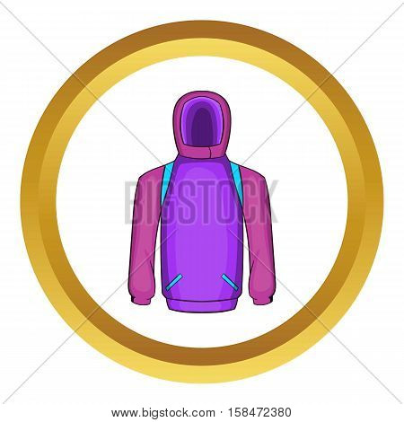 Snowboarder jacket vector icon in golden circle, cartoon style isolated on white background