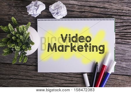 Video marketing. / Notes about video marketingconcept