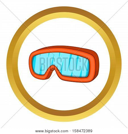 Ski sport goggles vector icon in golden circle, cartoon style isolated on white background
