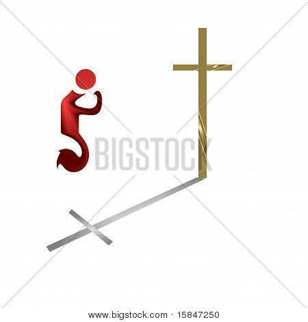 Clip art.  Person praying