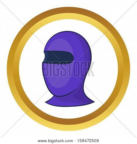 Winter thermal mask vector icon in golden circle, cartoon style isolated on white background