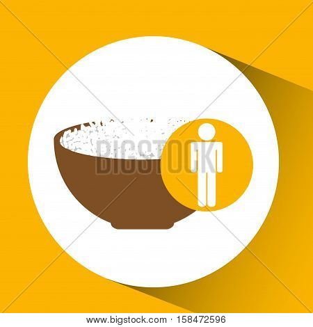 silhouette man rice in bowl nutrition healthy vector illustration eps 10
