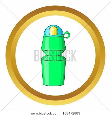 Sports water bottle vector icon in golden circle, cartoon style isolated on white background