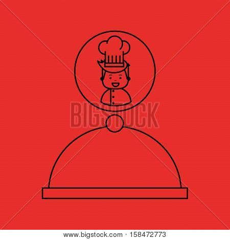 cartoon chef gourmet tray food vector illustration eps 10