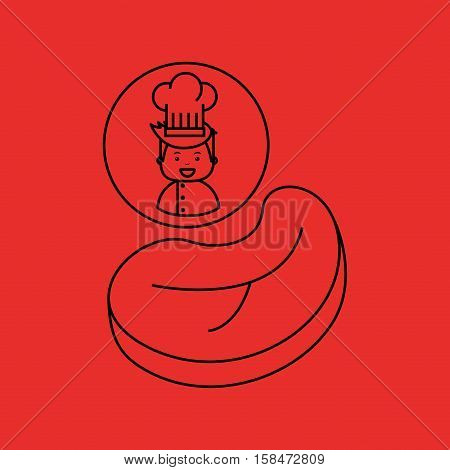 cartoon chef gourmet beef steak vector illustration eps 10