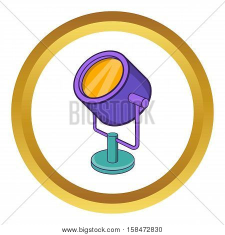 Spotlight vector icon in golden circle, cartoon style isolated on white background