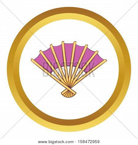 Fan vector icon in golden circle, cartoon style isolated on white background