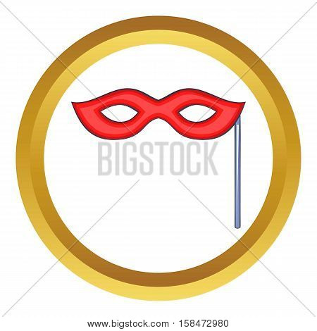 Red carnival mask vector icon in golden circle, cartoon style isolated on white background