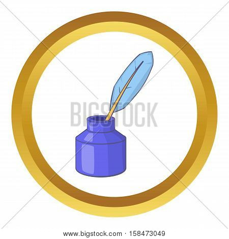 Ink with pen vector icon in golden circle, cartoon style isolated on white background