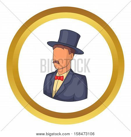 Male avatar in suit with hat vector icon in golden circle, cartoon style isolated on white background