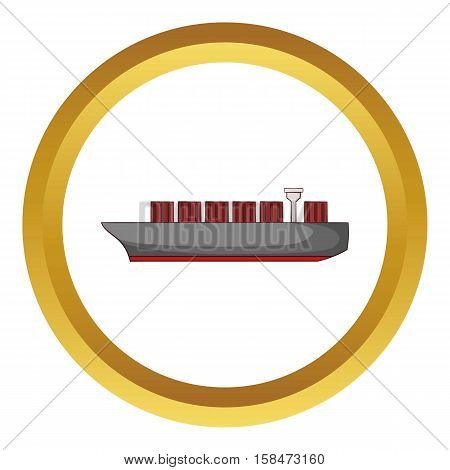 Cargo ship vector icon in golden circle, cartoon style isolated on white background