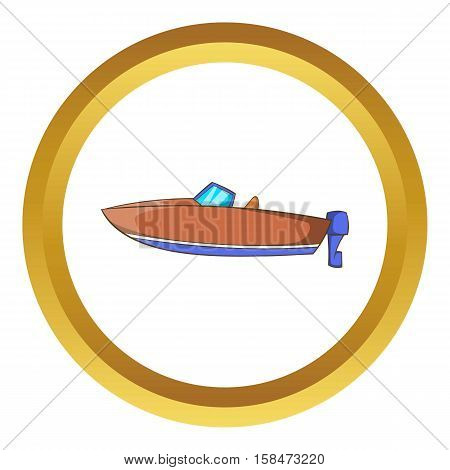 Motor boat vector icon in golden circle, cartoon style isolated on white background