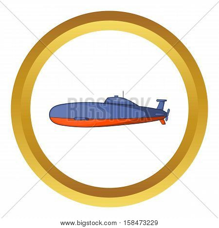 Submarine vector icon in golden circle, cartoon style isolated on white background