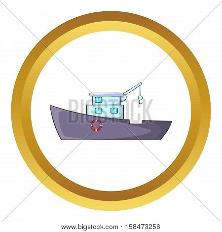 Ship for catching fish vector icon in golden circle, cartoon style isolated on white background