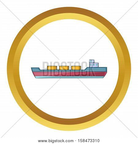 Ship carries cargo vector icon in golden circle, cartoon style isolated on white background