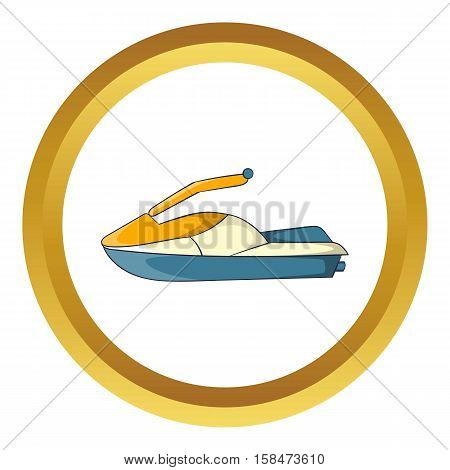 Jet ski vector icon in golden circle, cartoon style isolated on white background