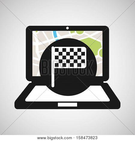 laptop flag map gps vector illustration eps 10