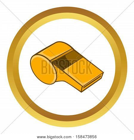 Whistle of refere vector icon in golden circle, cartoon style isolated on white background