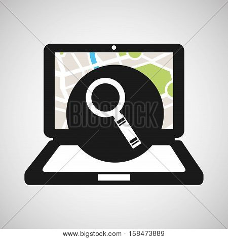 laptop map gps searching vector illustration eps 10