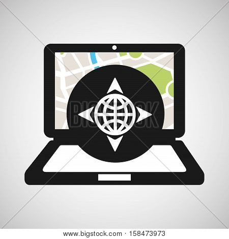 globe location laptop map gps vector illustration eps 10