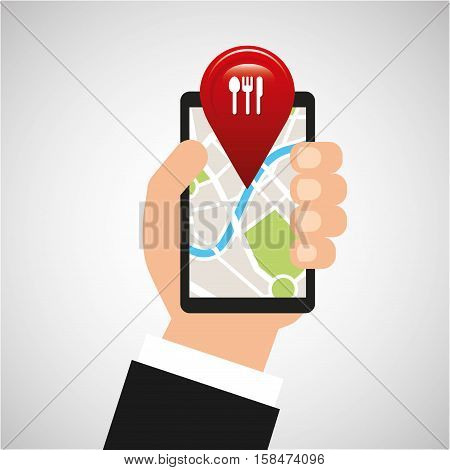 hand holds phone navigation app restaurant vector illustration eps 10