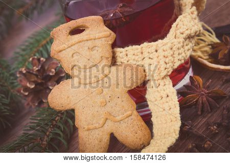 Vintage Photo, Glass Of Mulled Wine Wrapped Scarf, Gingerbread, Spices And Spruce Branches