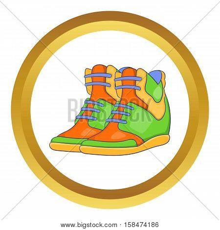 Womens autumn sneakers vector icon in golden circle, cartoon style isolated on white background