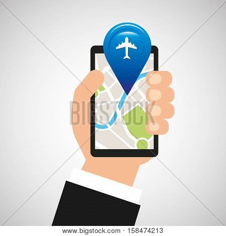 hand holds phone navigation app airport vector illustration eps 10
