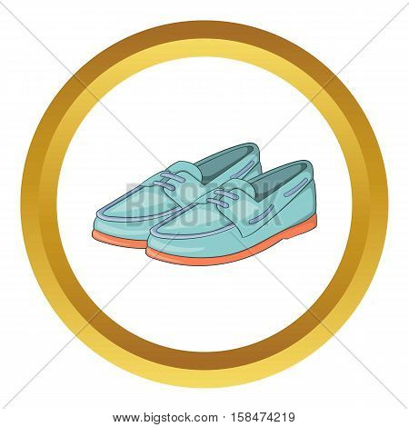 Denim loafers vector icon in golden circle, cartoon style isolated on white background