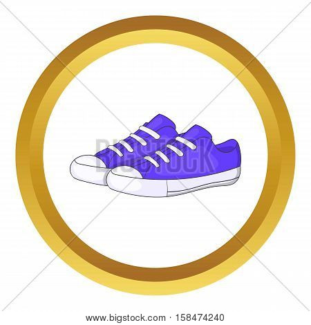 Womens purple sneakers vector icon in golden circle, cartoon style isolated on white background