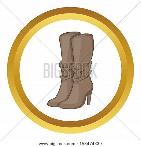 Womens boots high heel vector icon in golden circle, cartoon style isolated on white background